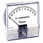 Simpson Catalog Number - TV4DUA100Model -  TV4Style - True Vue     0-100  DCUA  4.5    TVRating- 0-100 uA/DCScale- 0-100Legend- DC MICROAMPERES - Product Image